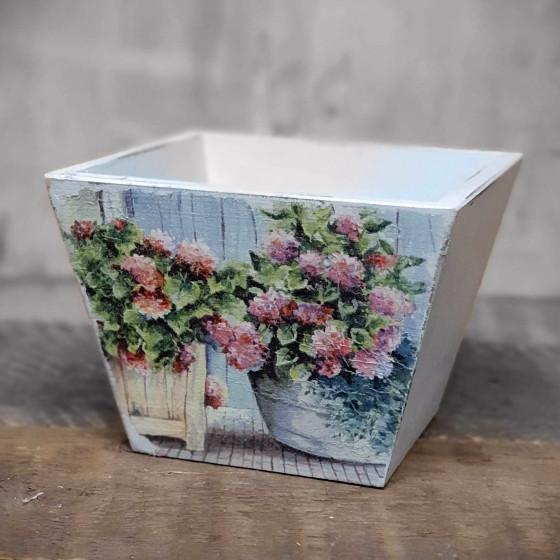 Goa-Stil Holzblumentopf 17 x 17 x 12 cm Deko Blumentopf Übertopf Goa Handarbeit
