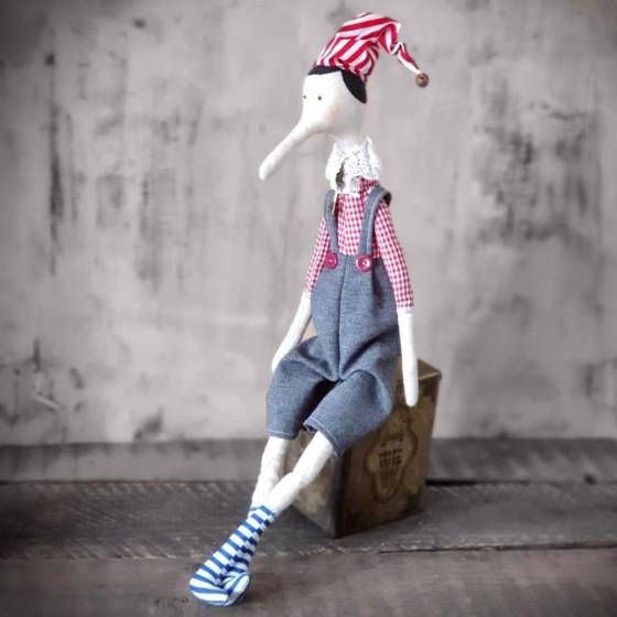 Künstlerpuppe Tilda-Stil Weihnachtsmann 55 cm Deko Stoffpuppe Puppe Handarbeit