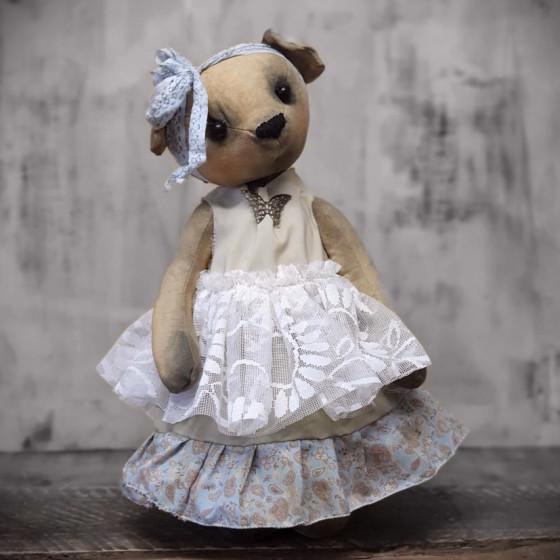 30-32 cm Bär oder Puppe Unikat Handarbeit für einen ca shabby Traumkleid
