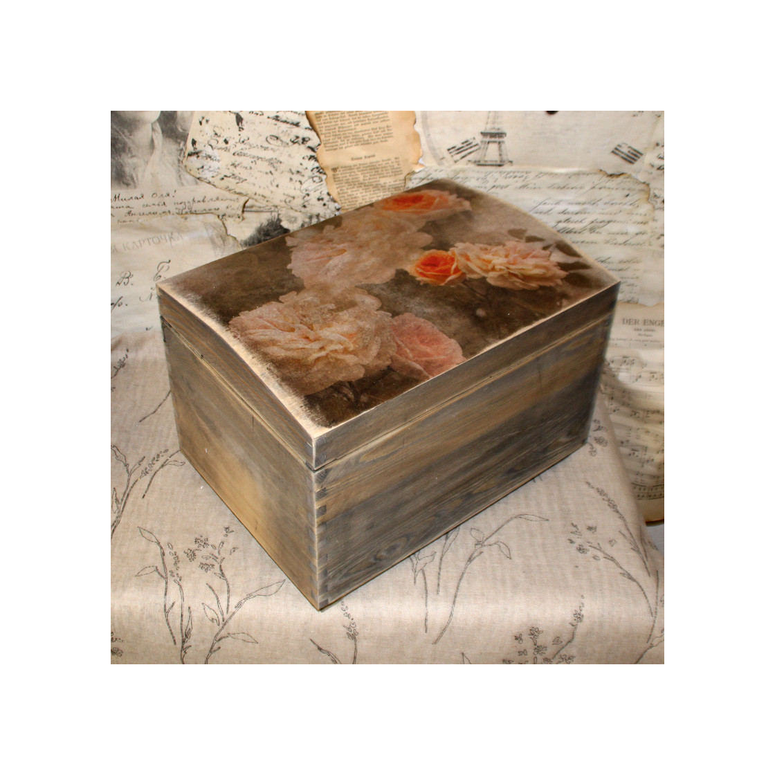 Handmade4u Vintage Grosse Holztruhe Truhe Holzkiste Deko Schatulle