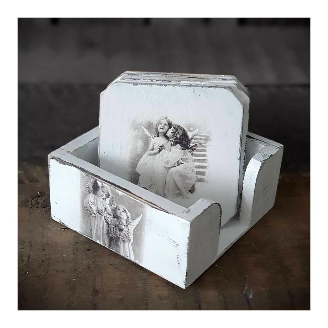 handmade4u vintage holzuntersetzer set landhaus shabby. Black Bedroom Furniture Sets. Home Design Ideas