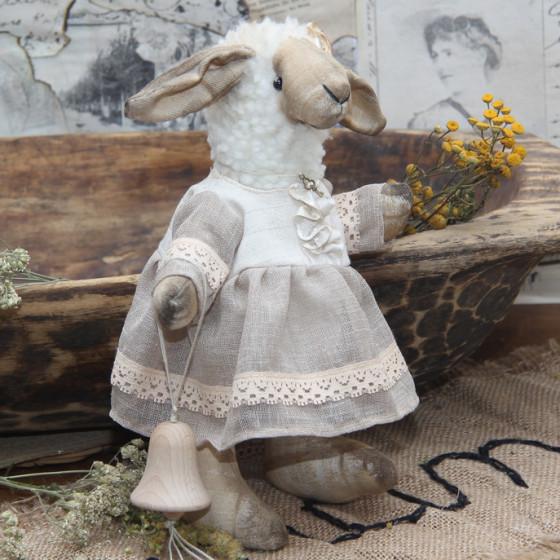 Vintage Künstlerschaf Braut 33 cm Stofftier Schäfchen Nostalgie Schaf Handarbeit
